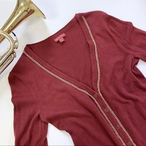 Merona Button Down Gold Chain Sweater Cardigan XS